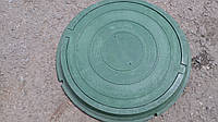 Люк полимерпесчаный круглый, в зеленом цвете нагрузка до 0,8 т.