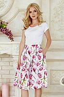 Пышная летняя женская миди юбка белая с принтом Цветы