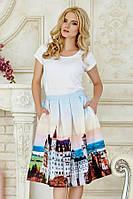 Пышная летняя женская миди юбка с ярким принтом Замок