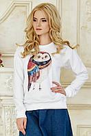 Стильный женский белый свитшот на осень с рисунком Сова