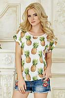 Женская свободная летняя футболка белая с принтом Ананасы