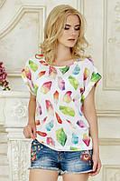 Женская свободная летняя футболка белая с принтом Бриллианты