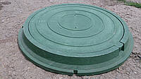 Люк полимерпесчаный круглый, в зеленом цвете нагрузка до 1.5 т.