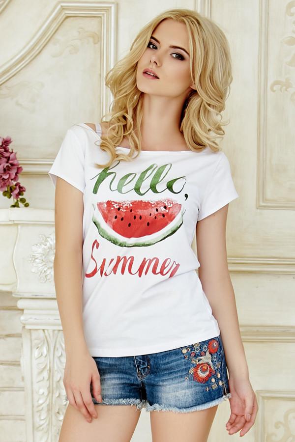 Женская летняя белая фуболка с принтом Hello Summer