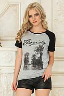 Женская стильная серая футболка реглан Флорида