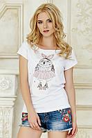 Женская летняя белая фуболка с принтом Сова