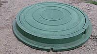 Люк круглый, нагрузка до 1.5 т. с запорным механизмом в зеленом цвете, фото 1