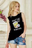 Женская черная футболка с широкой проймой Еда в кино
