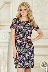 Летнее модное женское платье-футболка в цветочек