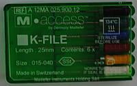 Ручные эндоинструменты  К-файлы( Dentsply Maillefer) 25мм асорти 15-40