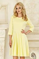 Классическое женское платье лимонного цвета с рукавом