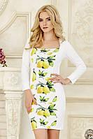 Оригинальное женское белое платье с длинным рукавом с принтом по полочке Лимончики