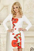 Оригинальное женское белое платье с длинным рукавом со вставкой Маки