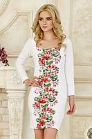 Оригинальное женское белое платье с длинным рукавом со вставкой Цветочки