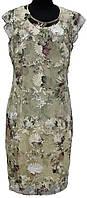 Платье прозрачное с подкладом, бежевое в цветы, батальное, р. 42, 48, Турция