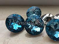 Мебельные пуговицы 30 мм , огранка Алмаз , Цвет голубой
