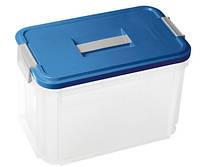 Контейнер для хранения с крышкой, прозрачно/серебристо/голубая на 14 л HOBBY VANITY Curver 168809