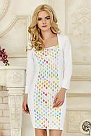 Оригинальное женское белое платье с длинным рукавом со вставкой Ромбы