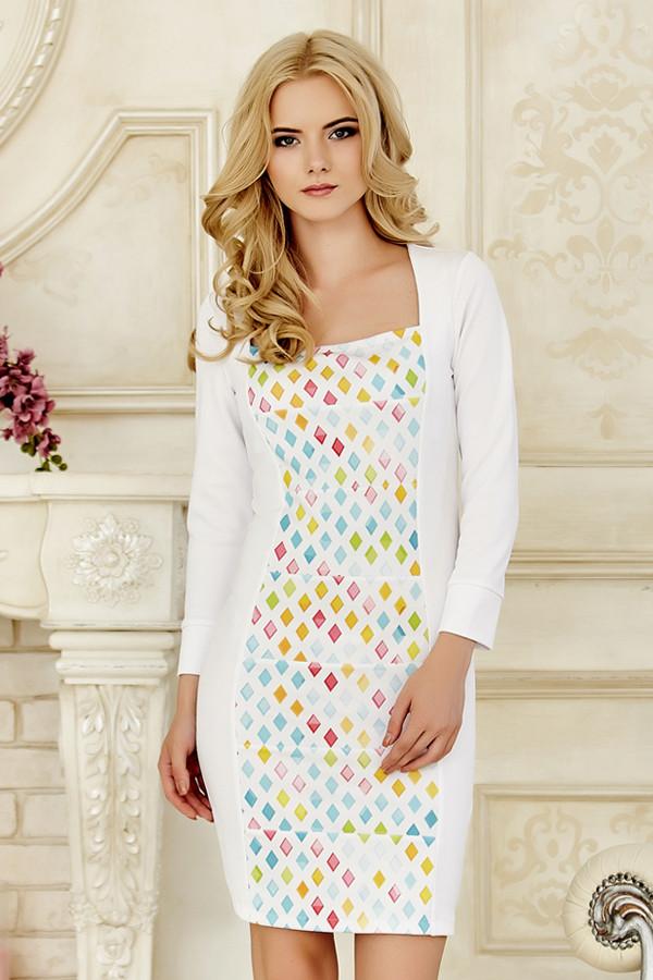 5db25c09c09 Оригинальное женское белое платье с длинным рукавом с принтом по полочке  Ромбы -