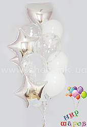 Сріблястий фонтан з конфетті і фольгированными кулями