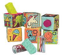 Развивающие мягкие кубики-сортеры ABC 6 кубиков, в сумочке, мягкие цвета Battat (BX1477Z)