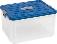 Контейнер для хранения с крышкой, прозрачно/серебристо/голубая на 30 л HOBBY VANITY Curver 168808