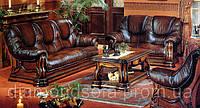 """Кожаный комплект мягкой мебели """" Greezly """" (Гризли)  Диван (с французкой раскладушкой) и кресло"""