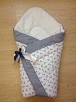 Тонкий конверт одеяло для новорожденных на выписку весна лето осень  90х90см Моряк белый