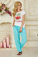 Женские летние свободные брюки с поясом мятные