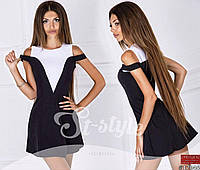 Платье черно белое  21178