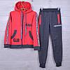 """Спортивный костюм детский """"AMD"""" для девочек. 7-12 лет. Темно-серый+красный. Оптом"""