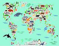Фотообои: Карта мира с животными
