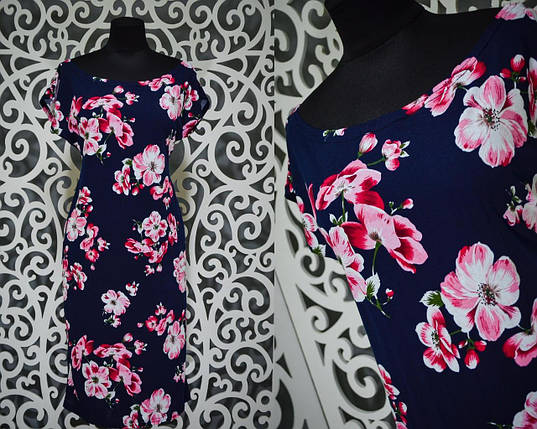 """Яркое женское платье """"Хлопок+стрейч"""" 50, 52, 54 размер баталы, фото 2"""