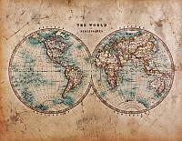 Фотообои: Карта мира полушария