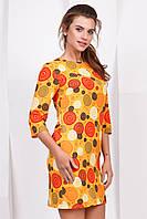Летнее нарядное женское платье выше колен с рукавом принт Оранжевые круги