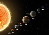 Фотообои Планеты солнечной системы в масштабе