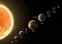 Фотошпалери Планети сонячної системи в масштабі