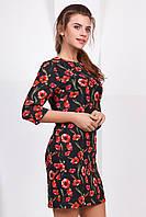 Летнее нарядное женское платье выше колен с рукавом принт Маки