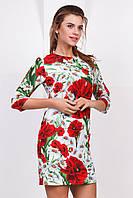 Летнее нарядное женское платье выше колен с рукавом принт Маки и ромашки