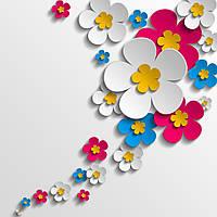 3D фотообои: Цветы на стене