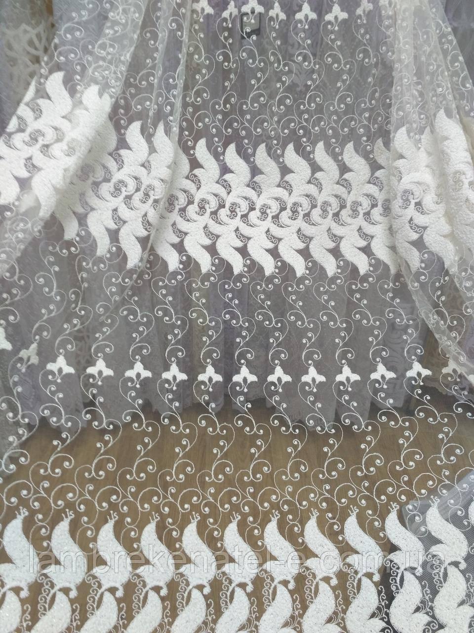 Гардина в гостиную фатин с вышивкой кремовый
