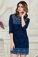 Летнее нарядное женское платье выше колен с рукавом принт темно-синий узор