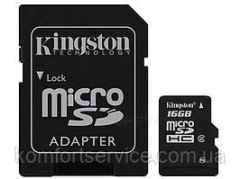 Карта памяти microSD 16 GB Class 4SD adapter ТМ Kingston