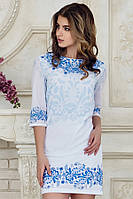 Летнее нарядное женское платье выше колен с рукавом принт Гжель