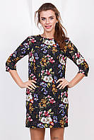 Нарядное летнее женское платье выше колен с рукавом принт Васильки