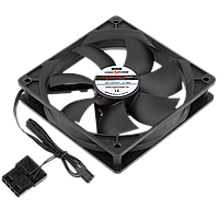 Вентилятор LP F12NBD, 120MM, 3pin + 4pin (Molex питание), black