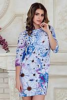 Нарядное летнее женское платье выше колен с рукавом принт Цветы