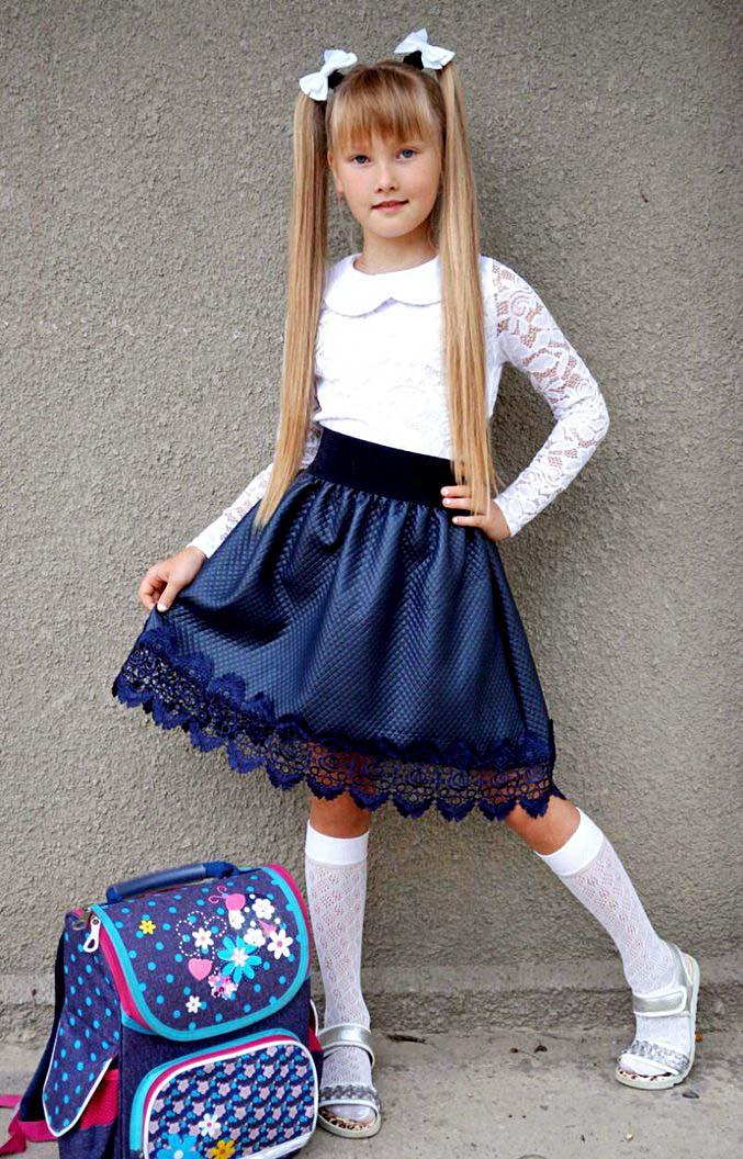 """Дитяча стильна спідниця 3552 """"Стеганка Кльош Муліне"""" в шкільних кольорах"""