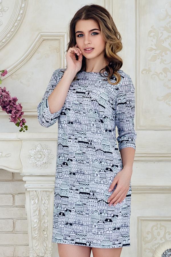 3409705b747 Нарядное летнее женское платье выше колен с рукавом принт Город -