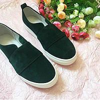 Слипоны зеленые мокасины из дорогой замши качество люкс, осенняя обувь из замши